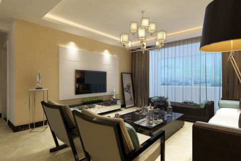 客厅窗帘简约风格装潢设计图片