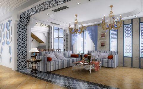 客厅窗帘地中海风格装潢图片