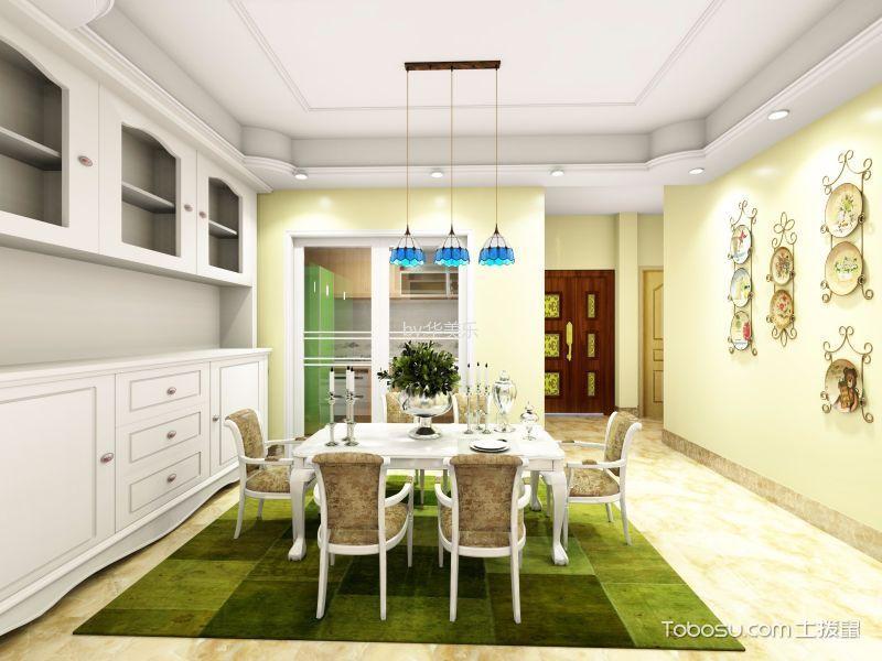 餐厅黄色背景墙田园风格装潢图片