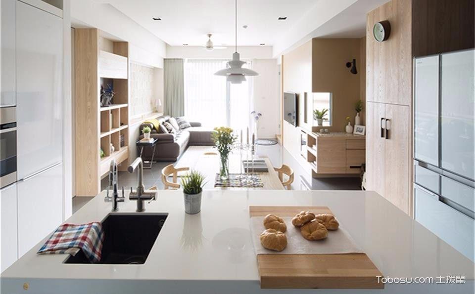 厨房白色厨房岛台北欧风格装潢图片