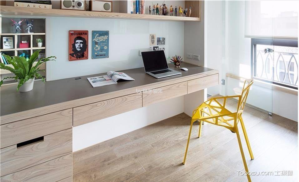书房米色书桌北欧风格装饰设计图片