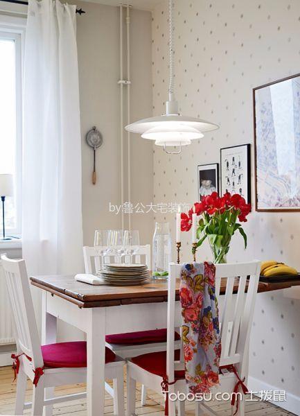 餐厅白色背景墙田园风格装修效果图