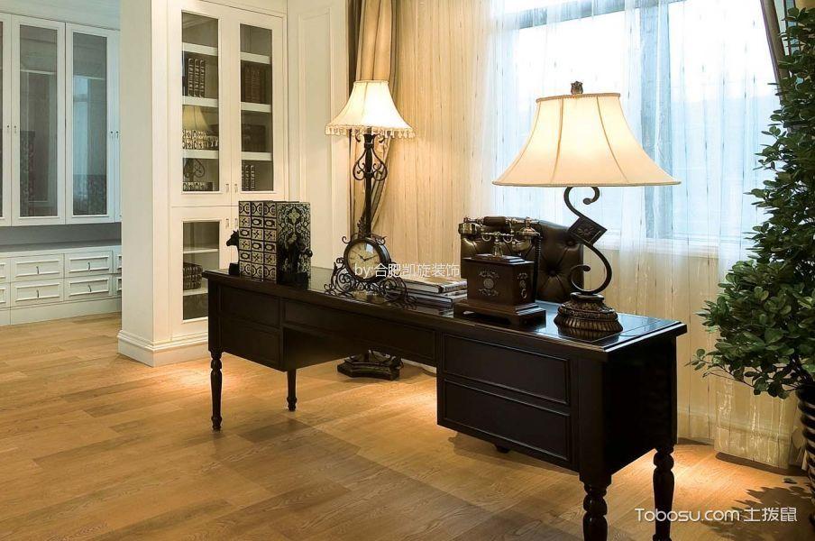 书房米色窗帘北欧风格装修效果图