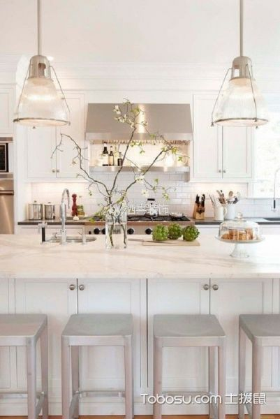 厨房白色厨房岛台现代风格装修图片