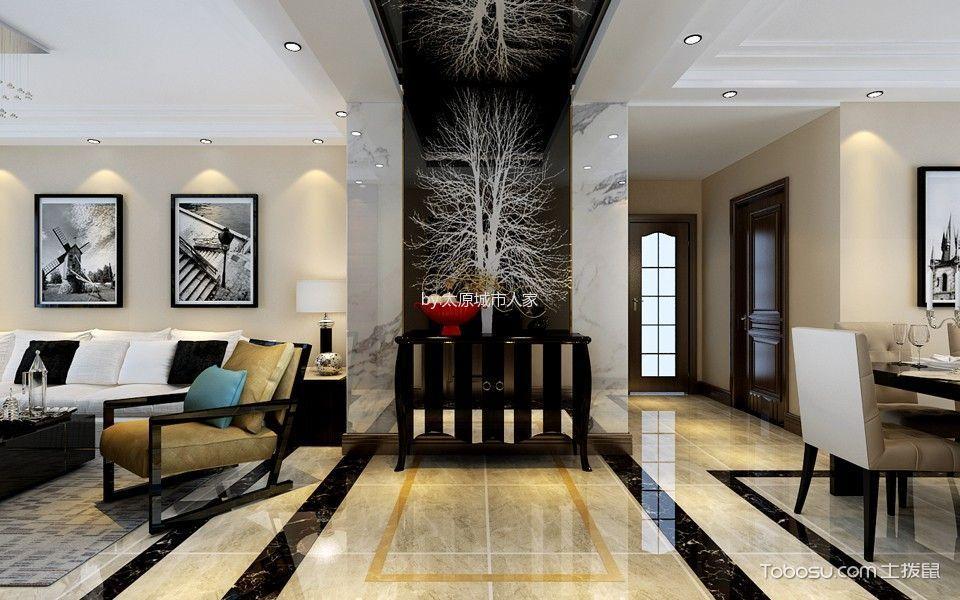 玄关 背景墙_3.5万预算135平米三室两厅装修效果图
