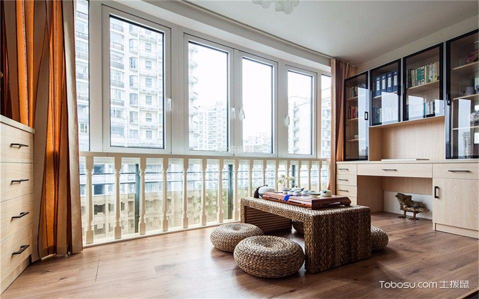 书房橙色窗帘现代简约风格装饰图片