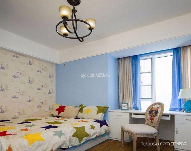 儿童房蓝色窗帘美式风格装饰设计图片