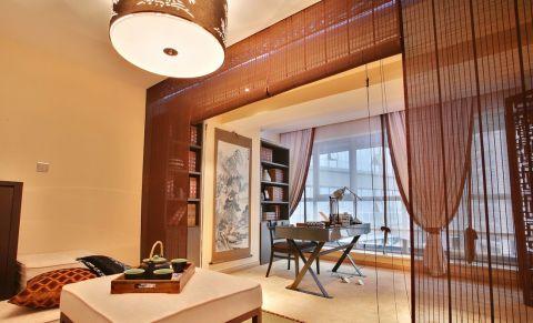 书房背景墙新中式风格装修图片