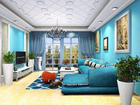 客厅背景墙地中海风格装潢图片