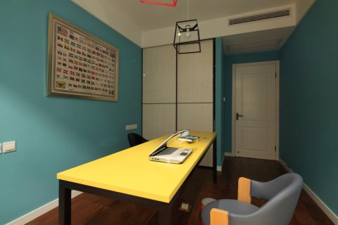 书房背景墙混搭风格装潢图片