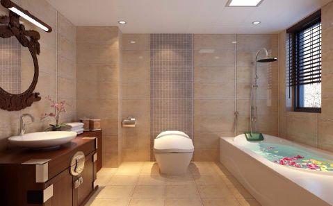 卫生间背景墙中式风格装潢效果图