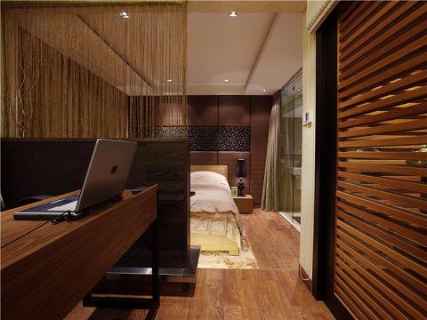 卧室背景墙中式风格装潢设计图片