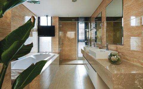 卫生间背景墙新中式风格装潢图片