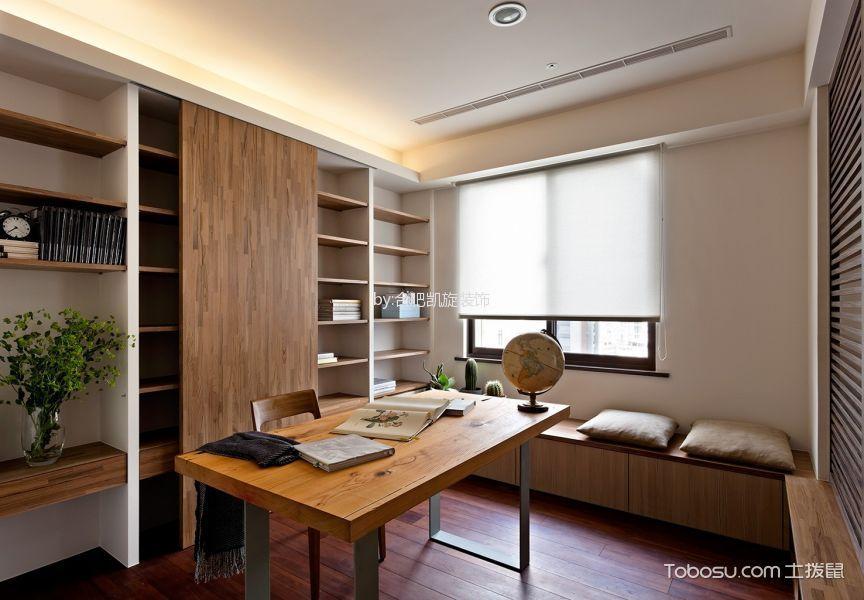 书房白色窗帘现代简约风格装修设计图片