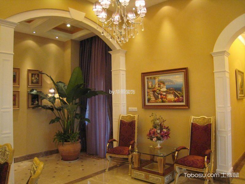 玄关黄色背景墙简欧风格装饰设计图片