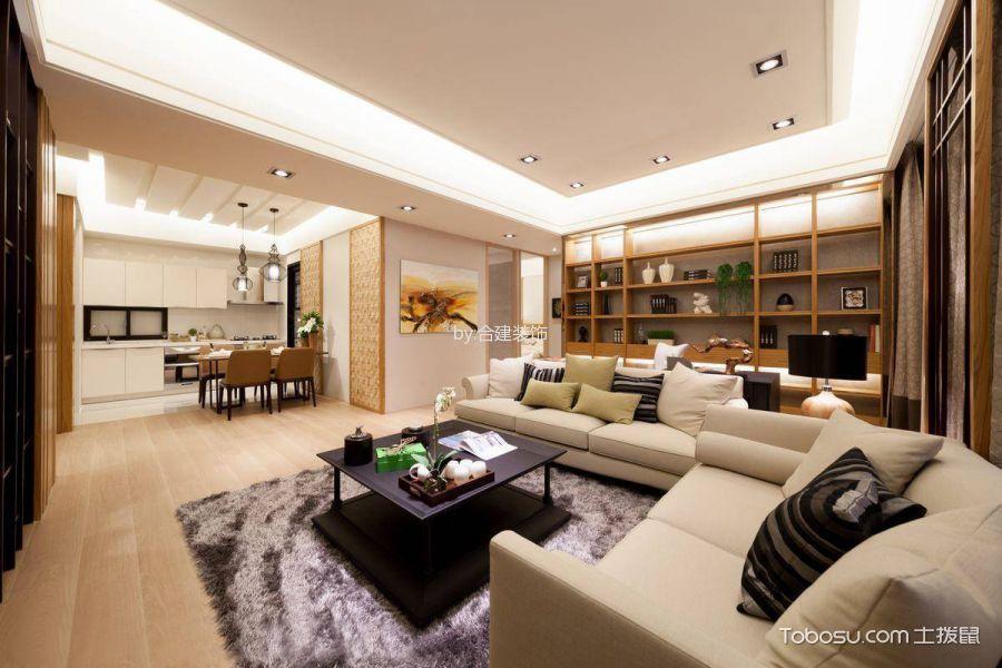 客厅米色沙发日式风格装潢设计图片