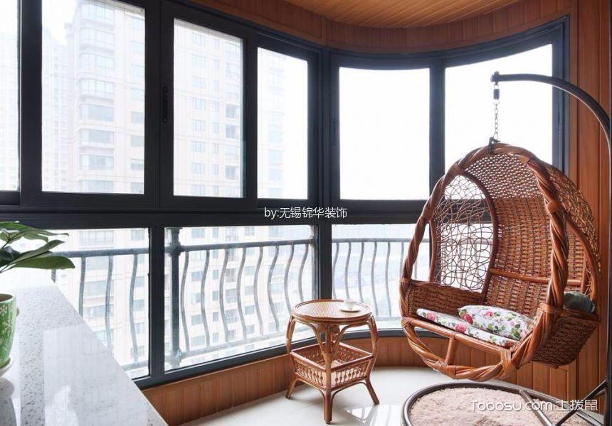 阳台咖啡色落地窗现代简约风格效果图