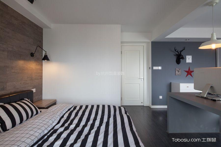 卧室咖啡色背景墙北欧风格装饰效果图