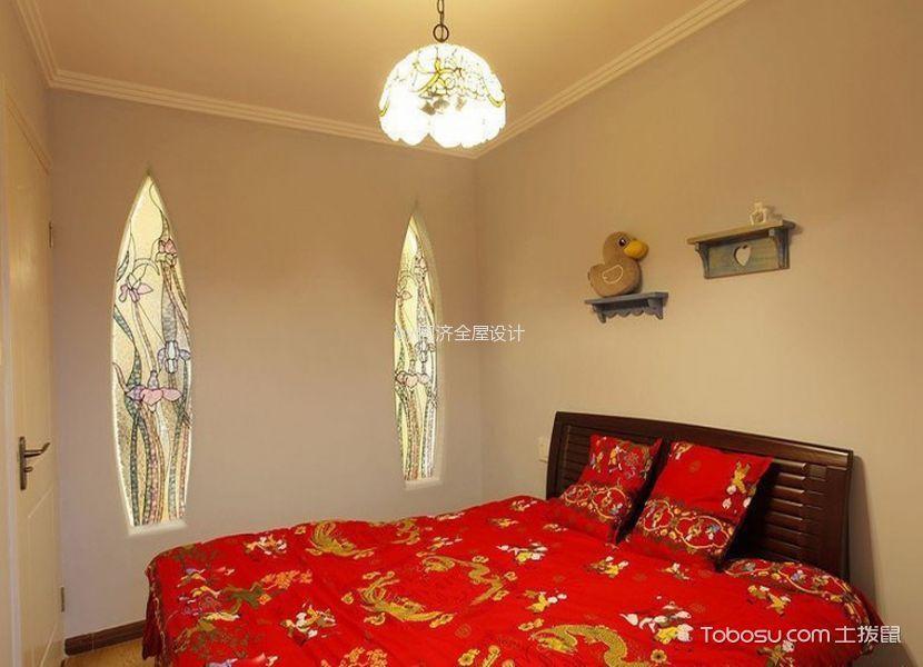 卧室米色吊顶田园风格装潢设计图片