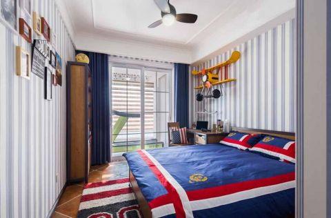 儿童房背景墙美式风格装潢设计图片
