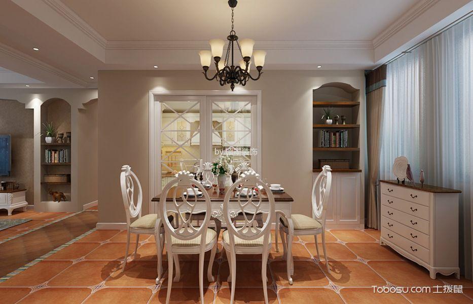 餐厅橙色地砖美式风格装饰设计图片