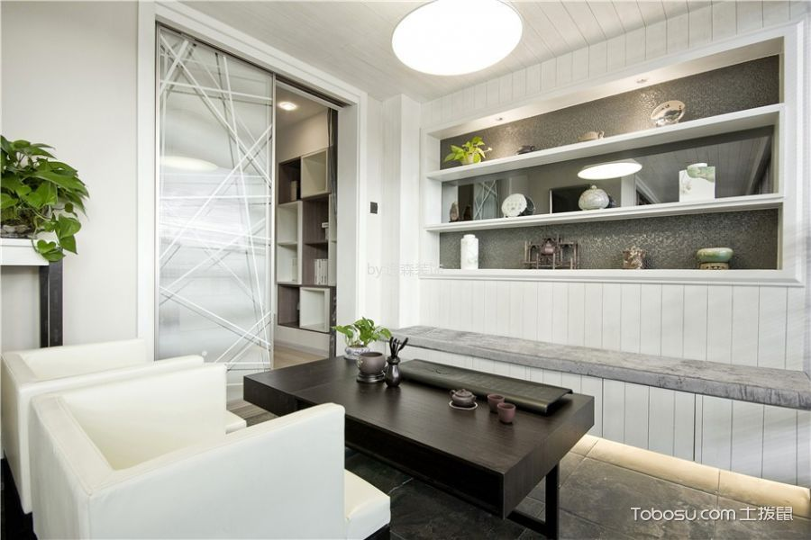 书房白色沙发现代简约风格装修设计图片