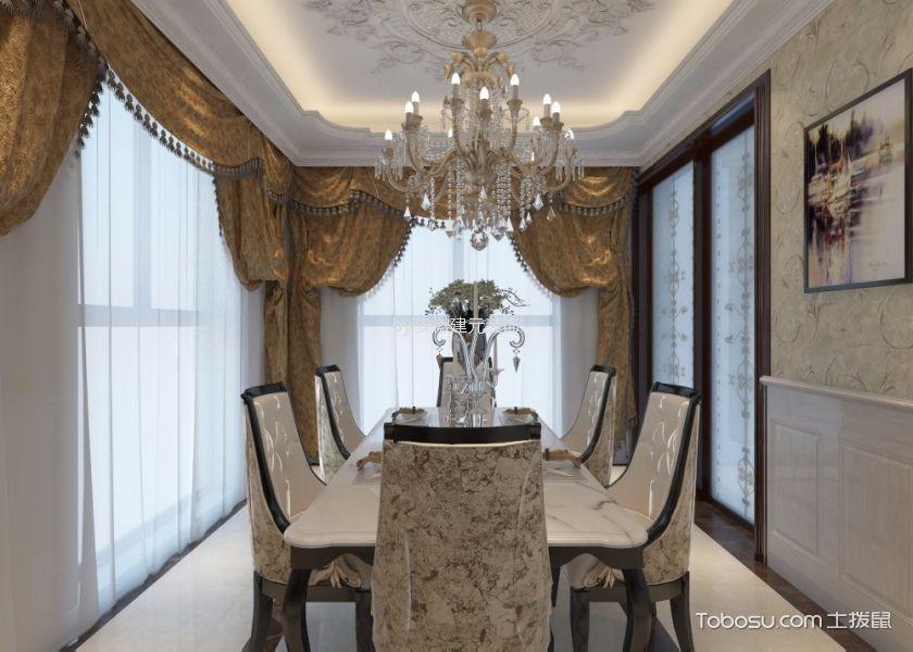 餐厅黄色窗帘欧式风格装修设计图片