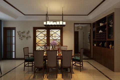 餐厅推拉门现代中式风格装修设计图片