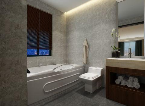 卫生间背景墙现代中式风格装潢设计图片