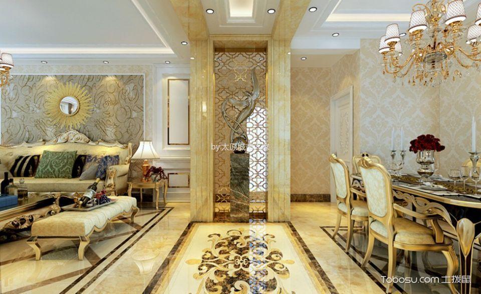 餐厅黄色走廊欧式风格效果图