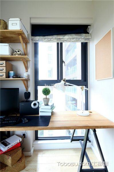 书房米色窗帘北欧风格装饰图片