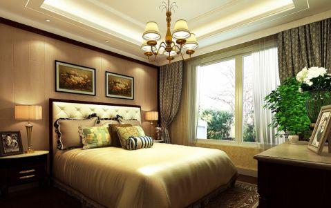 卧室窗帘美式风格装饰效果图