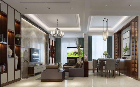 客厅博古架新中式风格效果图