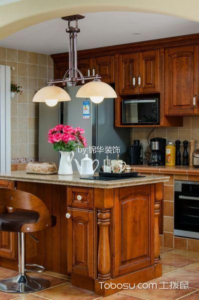 厨房咖啡色厨房岛台美式风格装潢图片