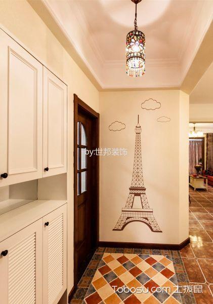 玄关白色背景墙美式风格装饰效果图