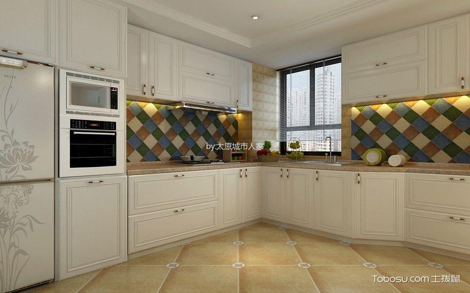 厨房彩色背景墙美式风格装饰设计图片