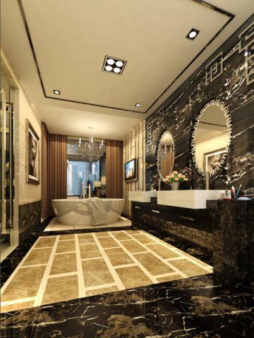 卫生间背景墙混搭风格装潢图片