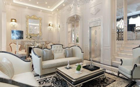 客厅吊顶法式风格装修图片