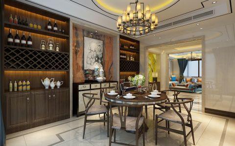 餐厅背景墙新中式风格装潢设计图片