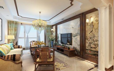 客厅窗帘美式风格装潢设计图片