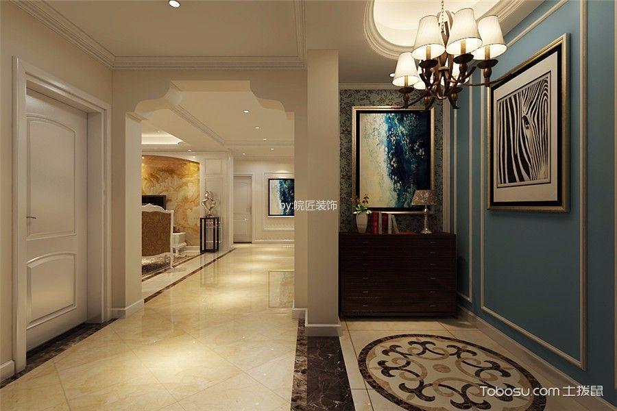 玄关蓝色背景墙简欧风格装饰效果图