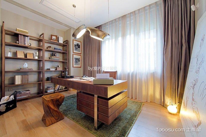 书房白色吊顶混搭风格装潢效果图