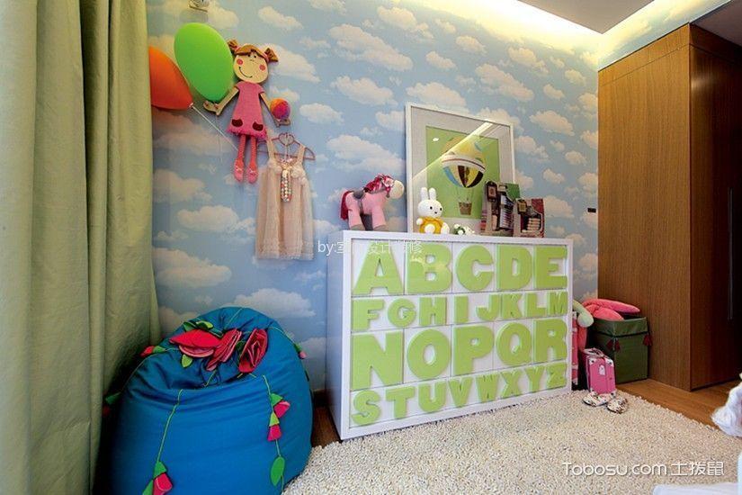 儿童房蓝色背景墙混搭风格装饰设计图片