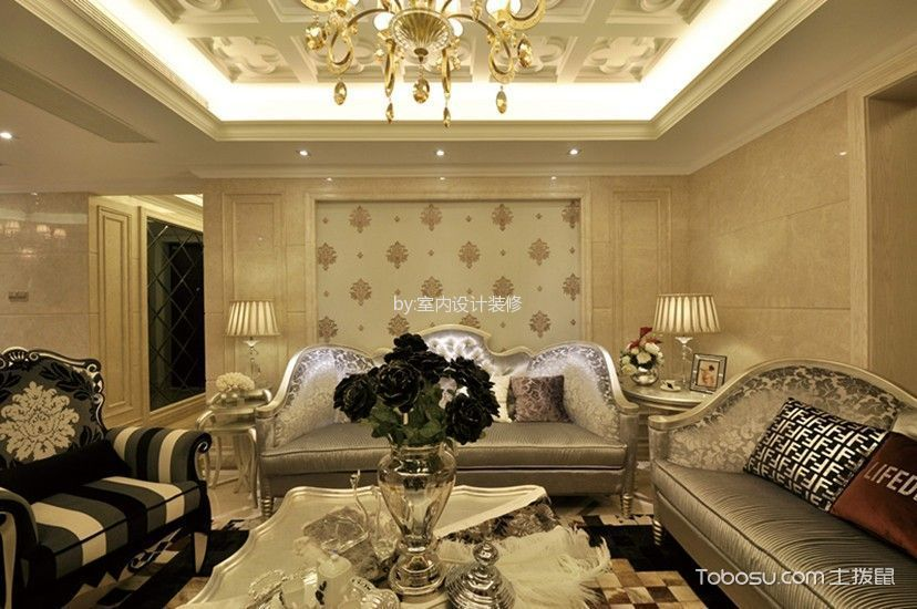 客厅黄色细节欧式风格装潢图片
