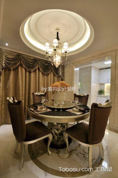 餐厅黄色窗帘欧式风格装潢设计图片