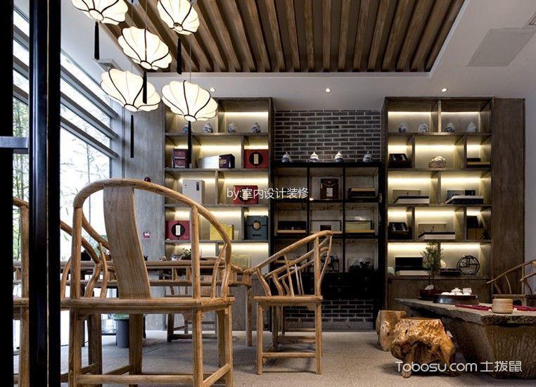 书房黄色博古架新中式风格装潢图片