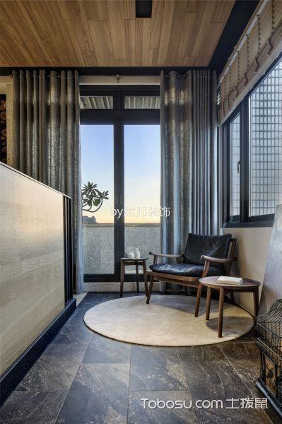 阳台黑色地砖新中式风格装饰设计图片