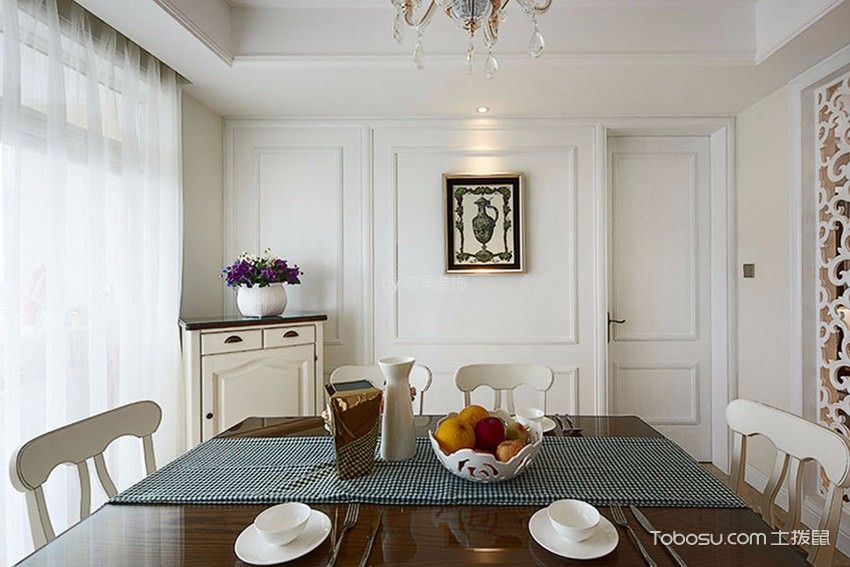 餐厅白色窗帘欧式风格装修设计图片