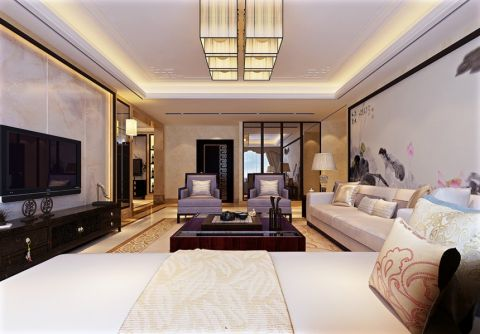 客厅吊顶中式风格装饰图片