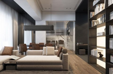 客厅博古架现代风格装饰图片